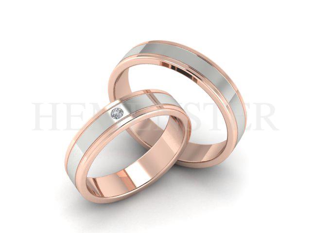 Aros de matrimonio modernos en oro rosado